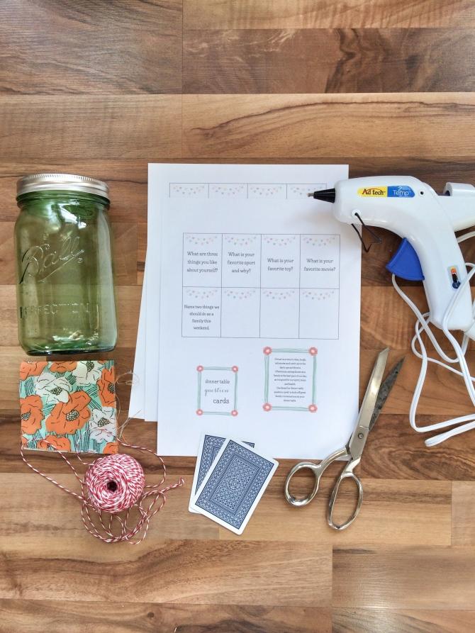 DIY: 'dinner table question cards' jar